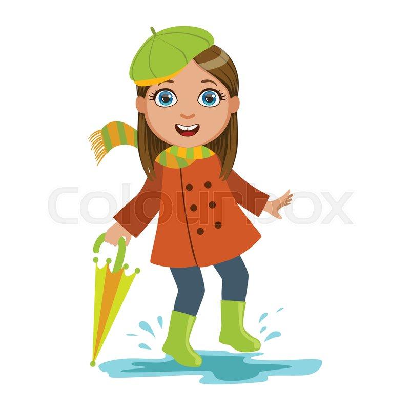 Girl In Green Beret With Umbrella, Kid ...   Stock Vector ...