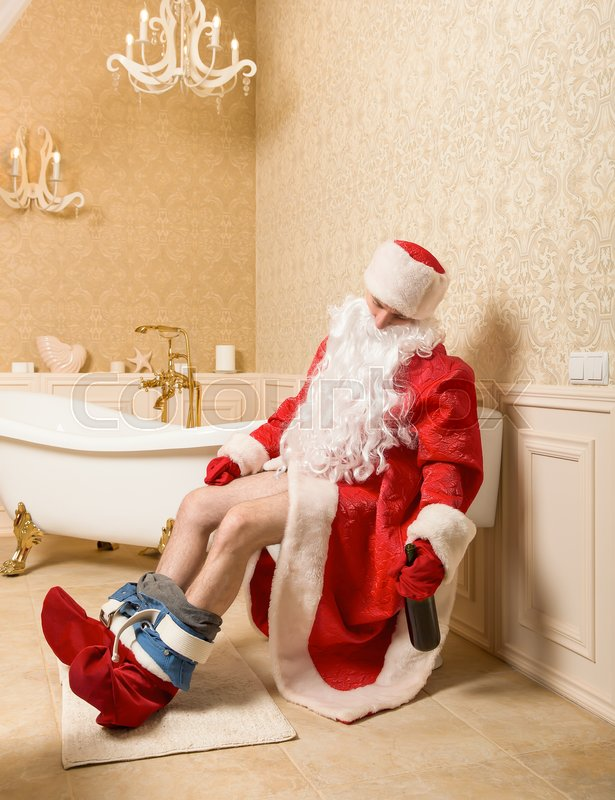 drunk father christmas sitting on the toilet - Drunk Christmas