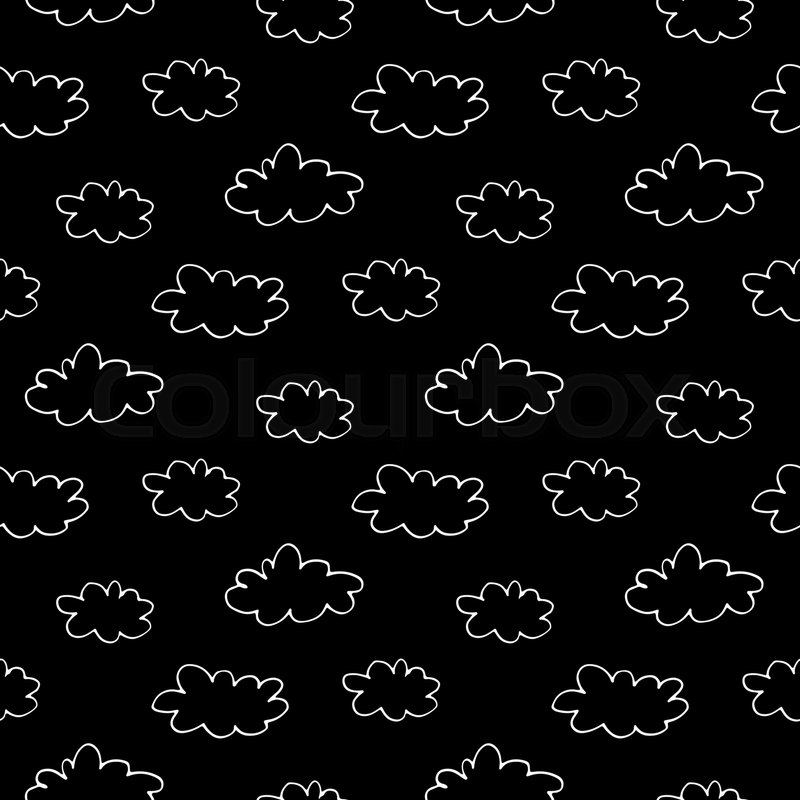 Cartoon sky pattern with hand drawn     | Stock vector
