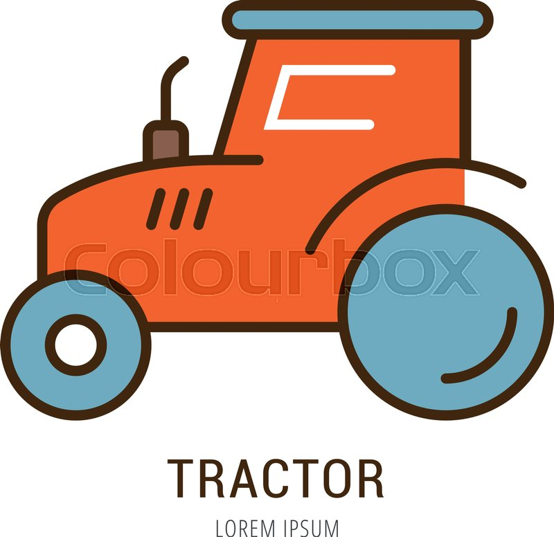logo or label tractor line style logotype easy to use tractor