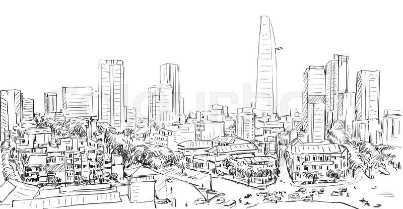 sketch cityscape of saigon city ho chi minh show building capital