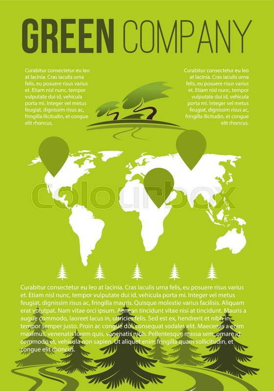 green nature and eco environment company brochure template vector forest trees and park gardens greenery in world map for gardening or planting