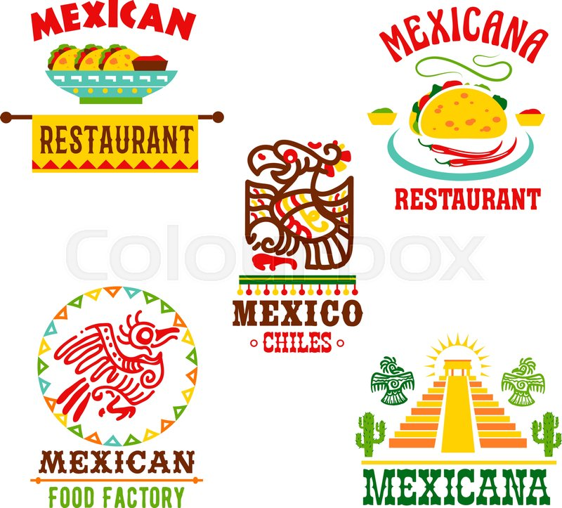 Mexican Restaurant Template Icons Set Mexico Cuisine Symbols Of
