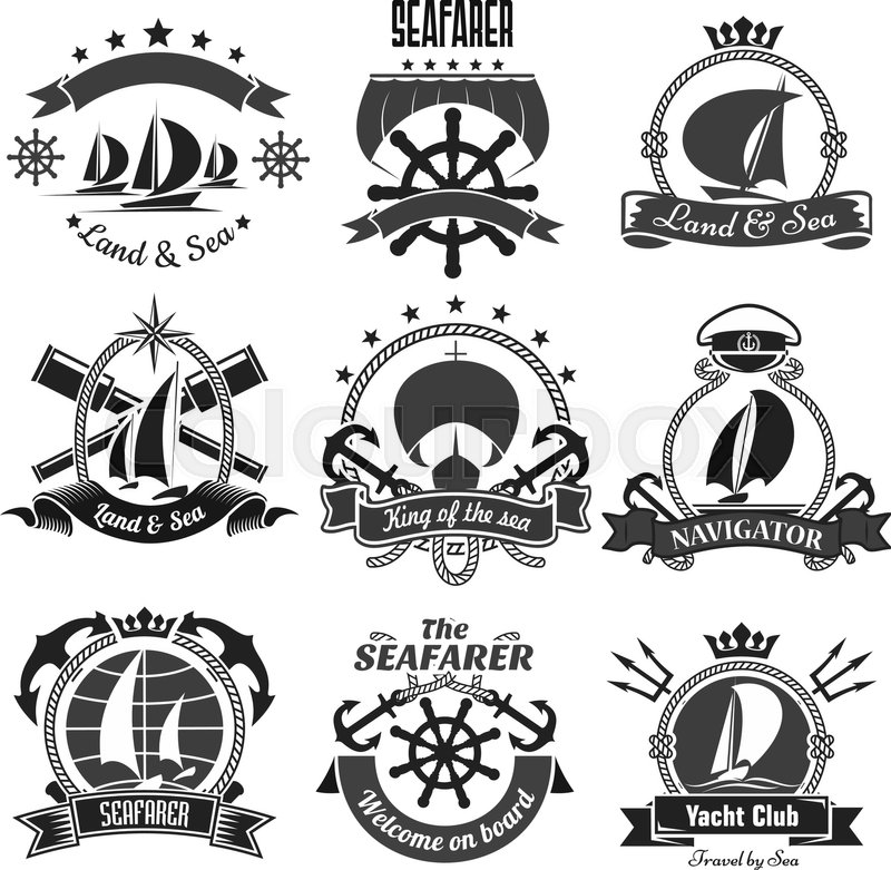nautical symbols and badges for yacht club or seafarer vector marine heraldic icons of anchor