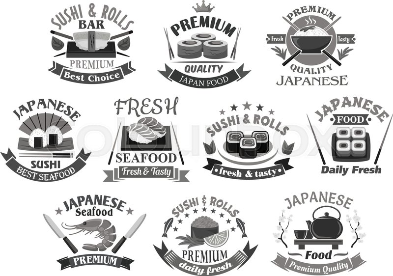 Japanese Sushi And Seafood Restaurant Premium Icon Templates Sushi