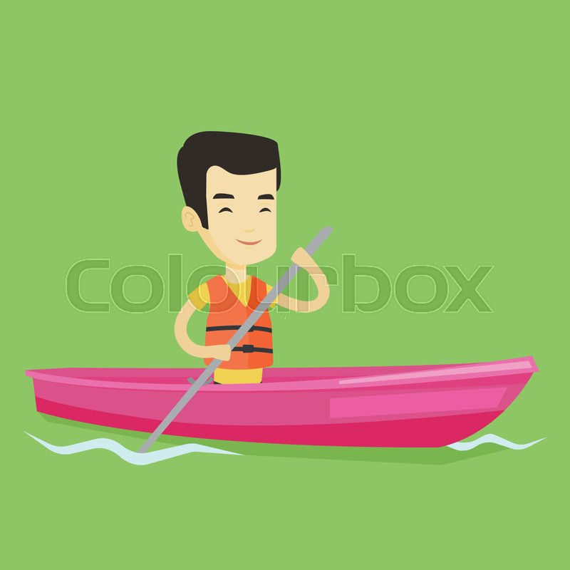 Young asian man traveling by kayak. Sportsman riding in a kayak in the river. Male kayaker paddling. Sportsman paddling a canoe. Vector flat design illustration. Square layout, vector