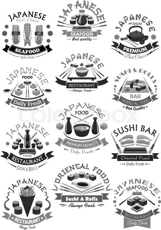 Japanese Sushi Bar Menu Icons Of Seafood Rolls Salmon Sashimi And