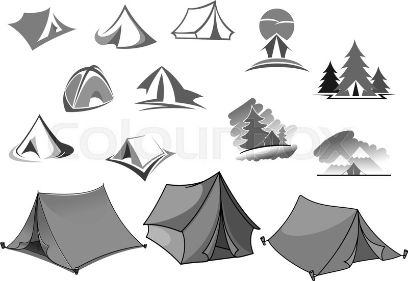 C& tent icons for c&ing adventure or forest backpacking or outdoor hiking tourism or travel agency and company. Holiday scout c&ing place or picnic ...  sc 1 st  Colourbox & Camp tent icons for camping adventure or forest backpacking or ...