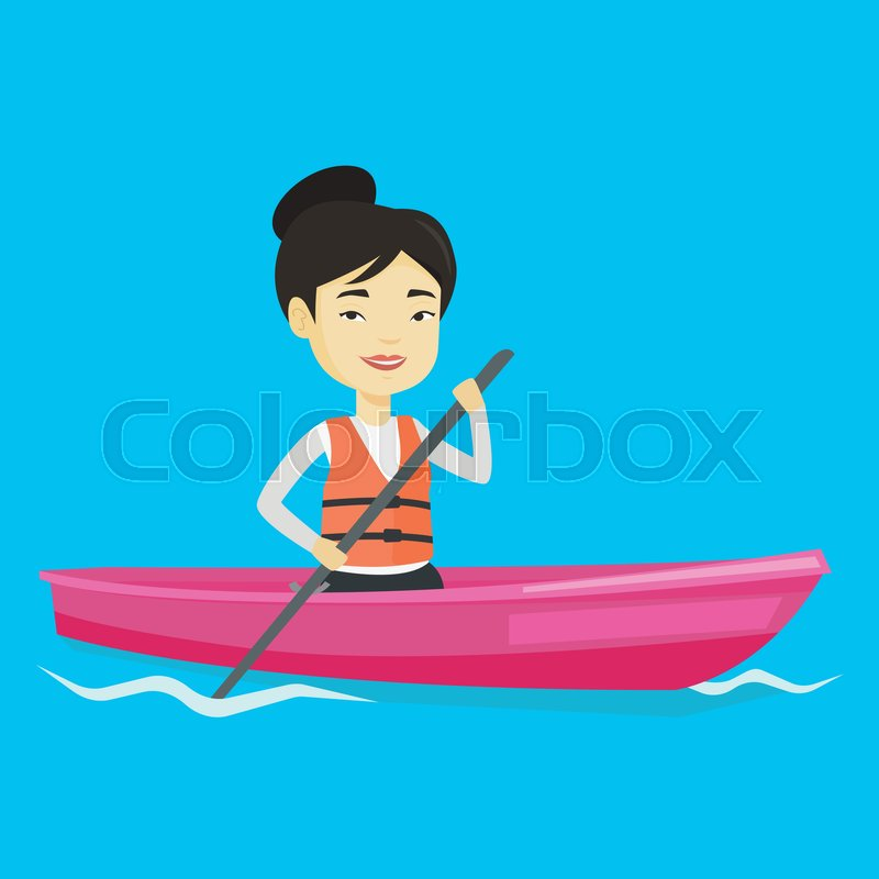 Young asian woman traveling by kayak. Female kayaker paddling. Sportswoman riding in a kayak in the river. Sportswoman paddling a canoe. Vector flat design illustration. Square layout, vector