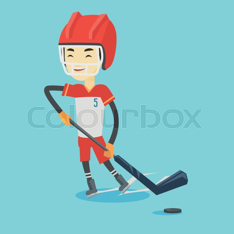 Asian sportsman playing ice hockey. Young ice hockey player in uniform skating on a rink. Smiling ice hockey player with a stick and puck. Vector flat design illustration. Square layout, vector