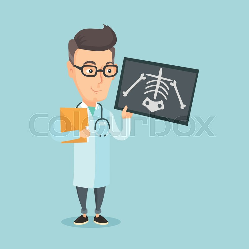 Caucasian friendly doctor examining a radiograph. An adult smiling doctor looking at a chest radiograph. Doctor observing a skeleton radiograph. Vector flat design illustration. Square layout, vector