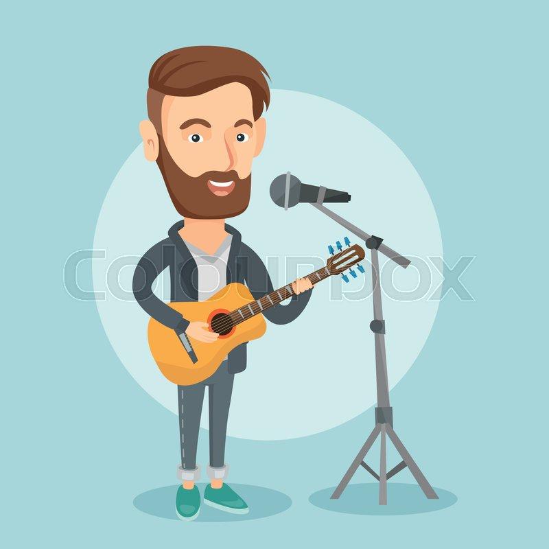 Caucasian man playing guitar. Guitar player singing song ...