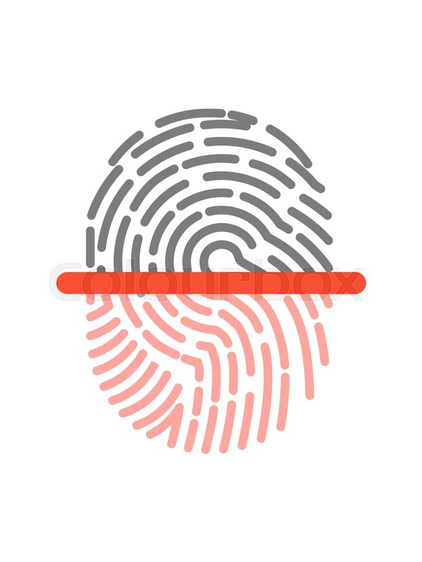 Black And Pink Half Fingerprint Shape Graphic Icon Isolated On White