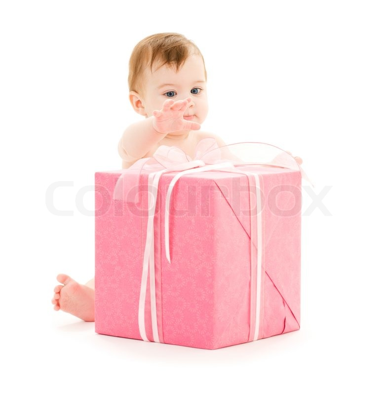 Baby Boy Gift Box : Picture of baby boy with big gift box stock photo
