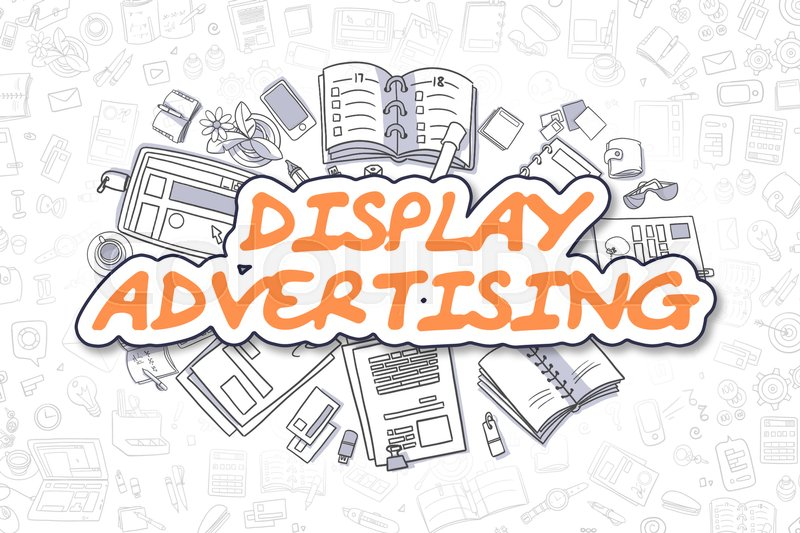 Orange Word - Display Advertising. Business Concept with Doodle Icons. Display Advertising - Hand Drawn Illustration for Web Banners and Printed Materials. , stock photo