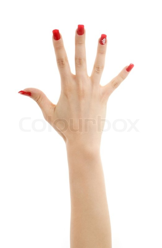 Picture Of Hand With Red Nails Over White