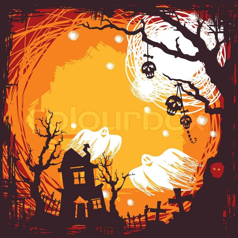 Abstract cartoon cute halloween background vector illustration ...