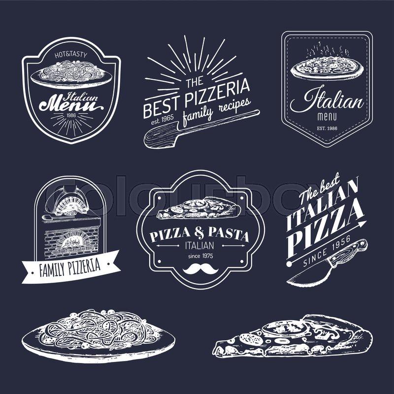 Vector Vintage Hipster Italian Food Stock Vector