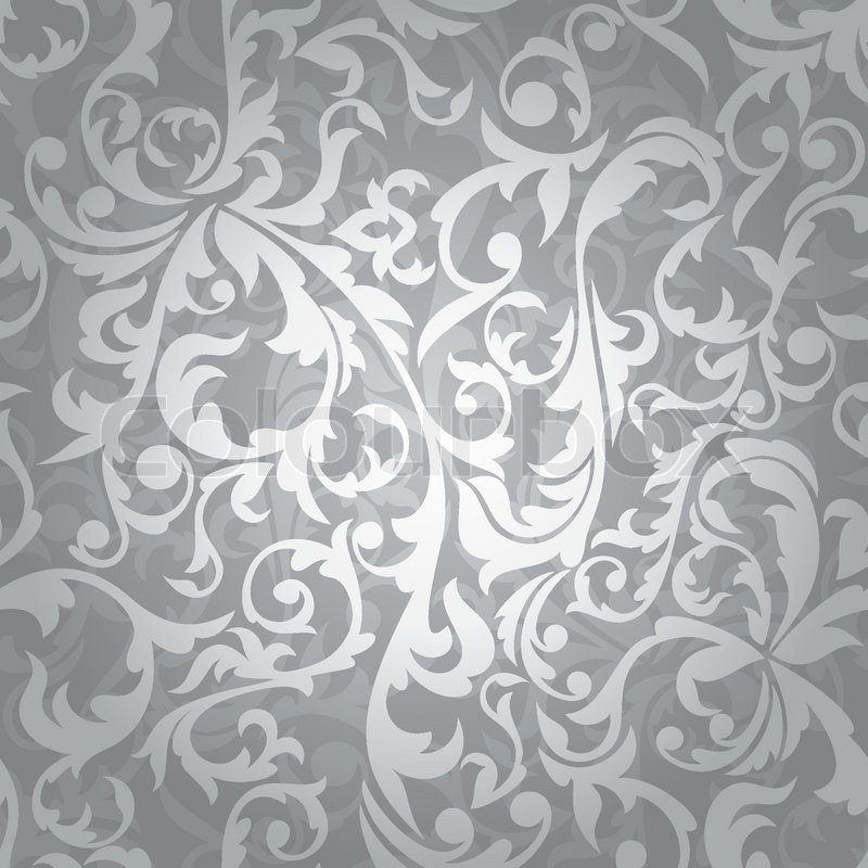 Abstract seamless silver floral background vector illustration Stock ...