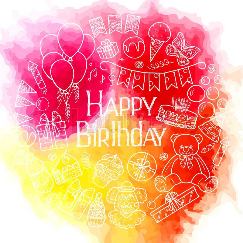 Happy Birthday Card Design On Watercolor Background Vector