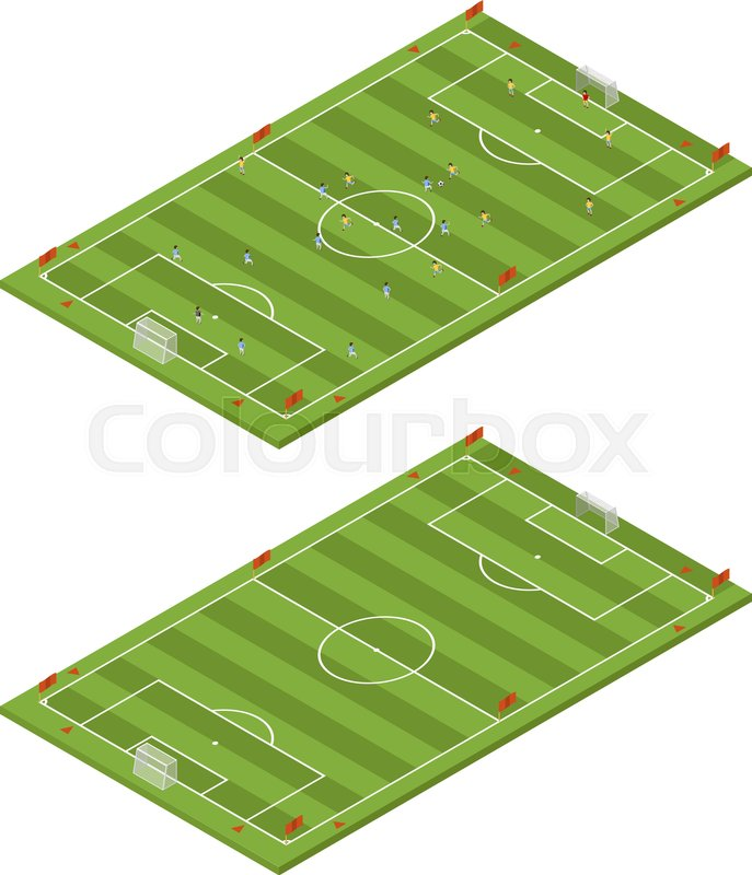 Isometric flat 3d soccer field template stock vector colourbox maxwellsz