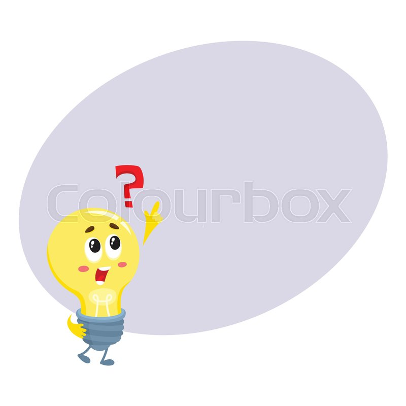 Cute light bulb character with funny face and question ...