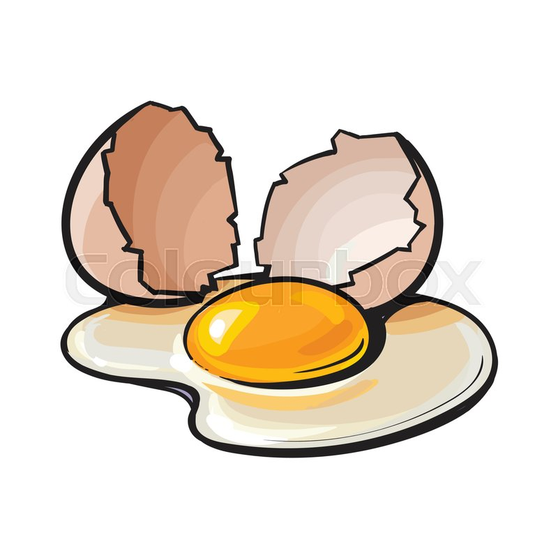 cracked broken and spilled chicken egg sketch style vector rh colourbox com  cracked easter egg clip art