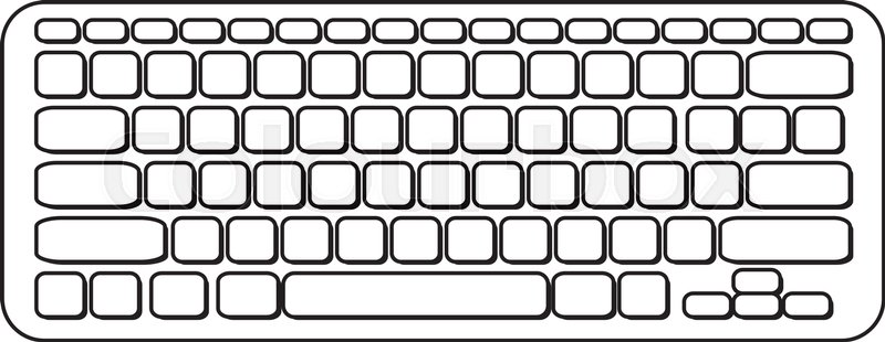 Line Art Keyboard : Vector portable computer keyboard black and white icon
