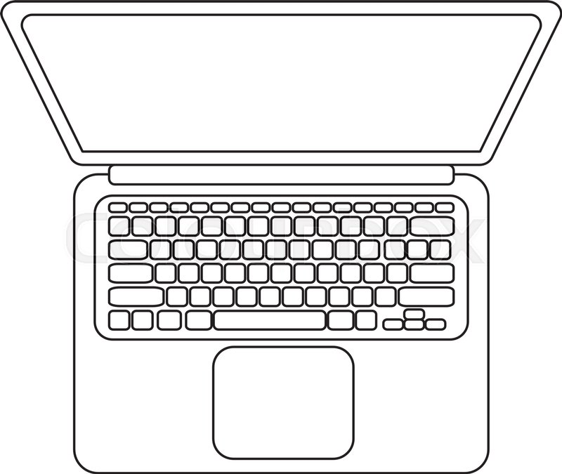 vector laptop top view black and white lineart icon stock vector