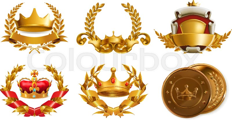 Gold Crown And Laurel Wreath 3d Vector Logo Stock Vector Colourbox