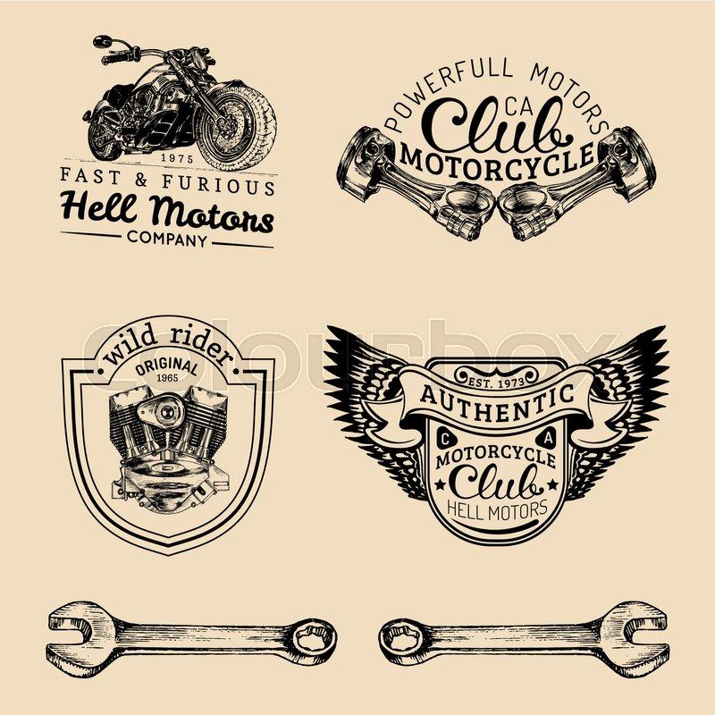 Vector Vintage Biker Club Signs. Motorcycle Repair Logos