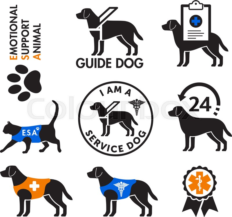 Image of: Esa Service Dogs And Emotional Support Animals Emblems With Health Care Related Icons Vector Stock Images Page Everypixel Everypixel Service Dogs And Emotional Support Animals Emblems With Health Care