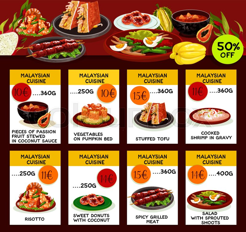 malaysian cuisine restaurant menu template asian food special offer