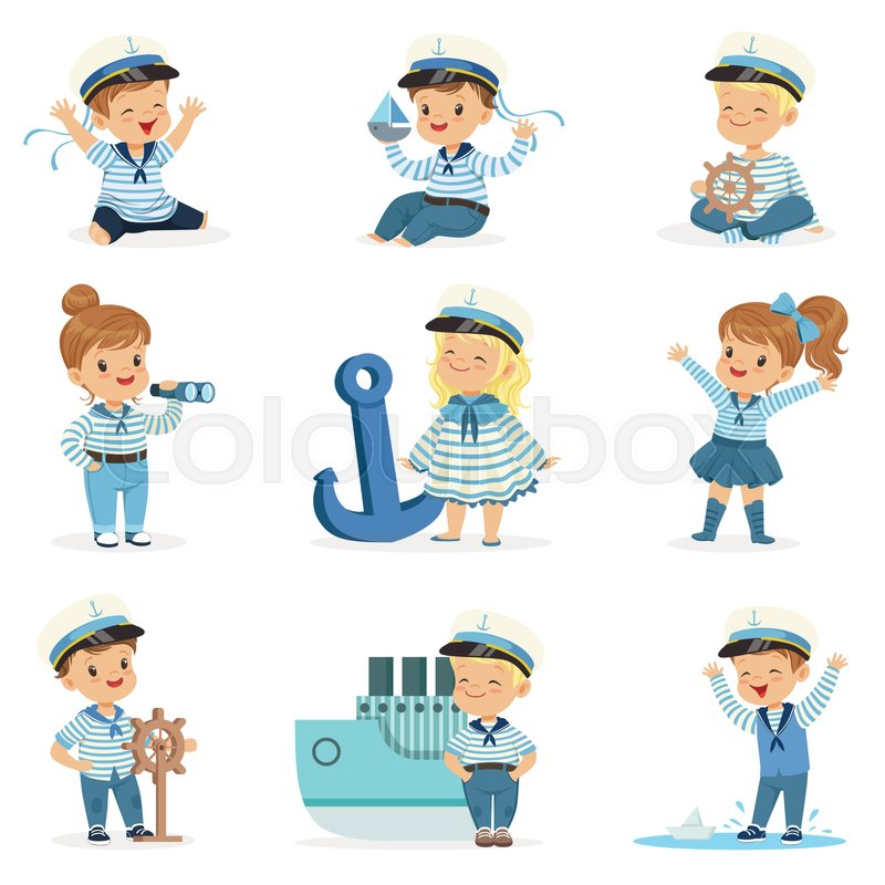 Kids Dream Future Profession Set Of Cute Vector Illustrations With Happy Babies