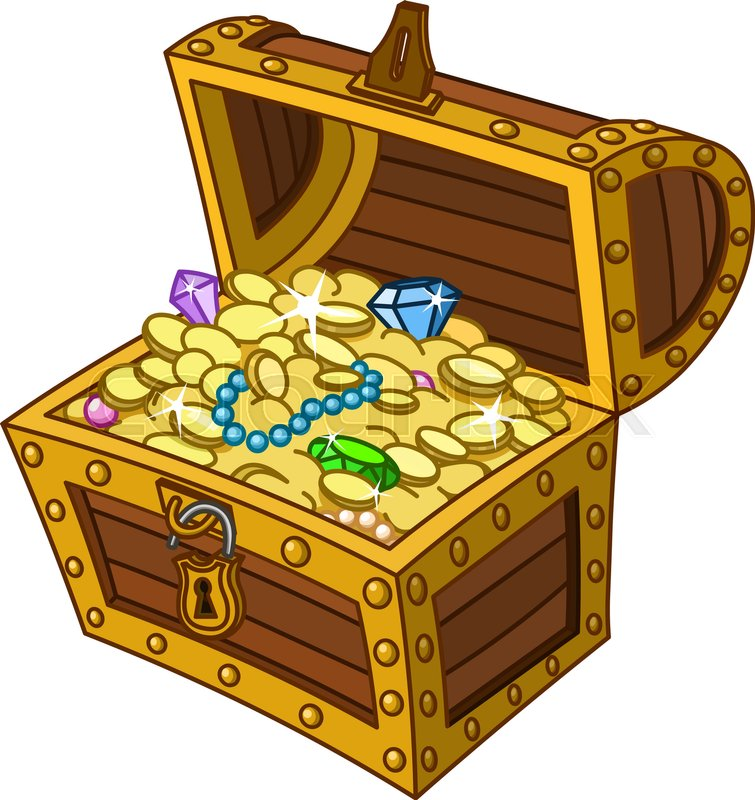 opened wooden treasure chest full of gold coins gems and jewelry rh colourbox com treasure chest clip art black and white treasure chest clipart images
