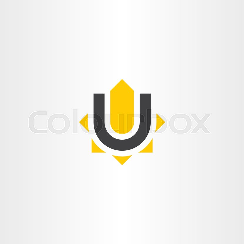 Yellow Black Letter U Logo Vector Icon Symbol