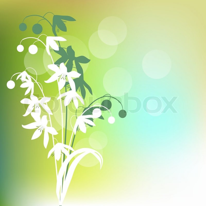 Light Green Background With Contour Spring Flowers Stock Vector