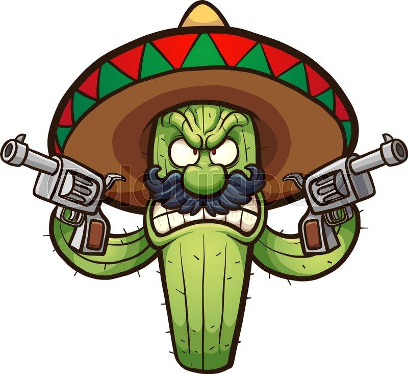 Angry Mexican cactus. Vector clip art ...   Stock Vector ...