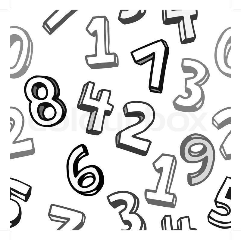 Schule clipart schwarz weiß  Nahtlose Schwarz- Weiß-Muster mit Ziffern | Vektorgrafik | Colourbox