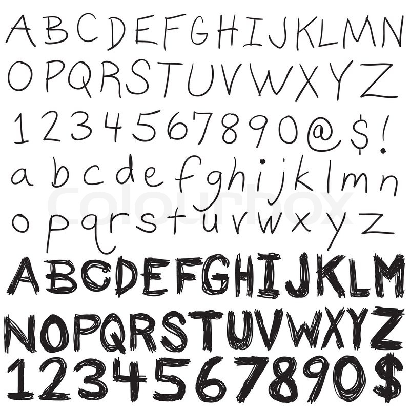 A Set Of Hand Written Letters And NumbersThe Complete Alphabet Doodled In Both Upper Lower Case An Easily Editable Vector Format