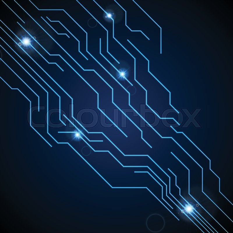 Dark blue circuit board technology background. Vector graphic design ...