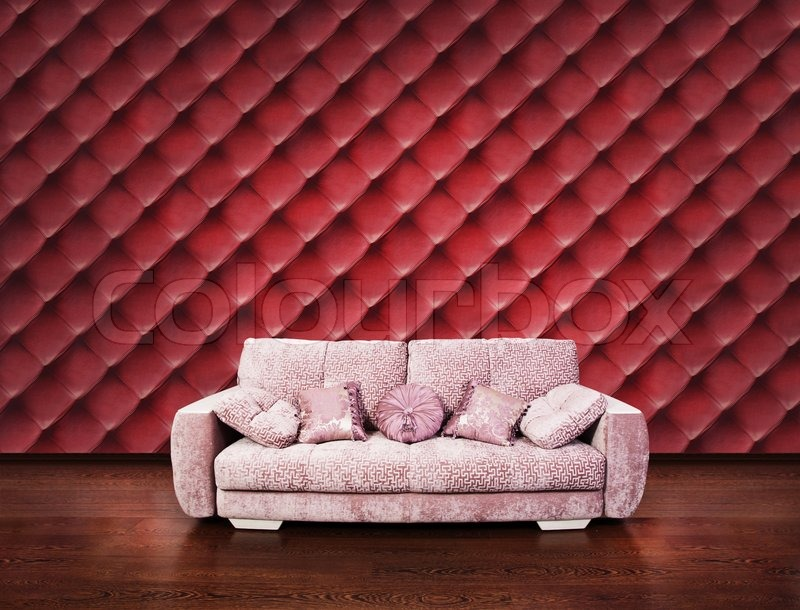 Modern Interior With Free Wall Space Red Leather Wallpaper