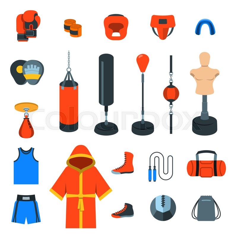 Boxing Icons Flat Design Vector Colorful Icons Boxer Training