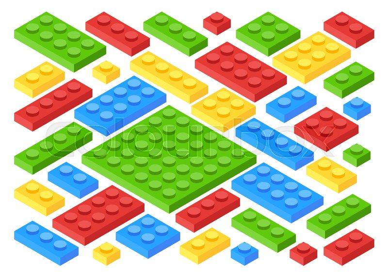 Isometric plastic building blocks and     | Stock vector | Colourbox