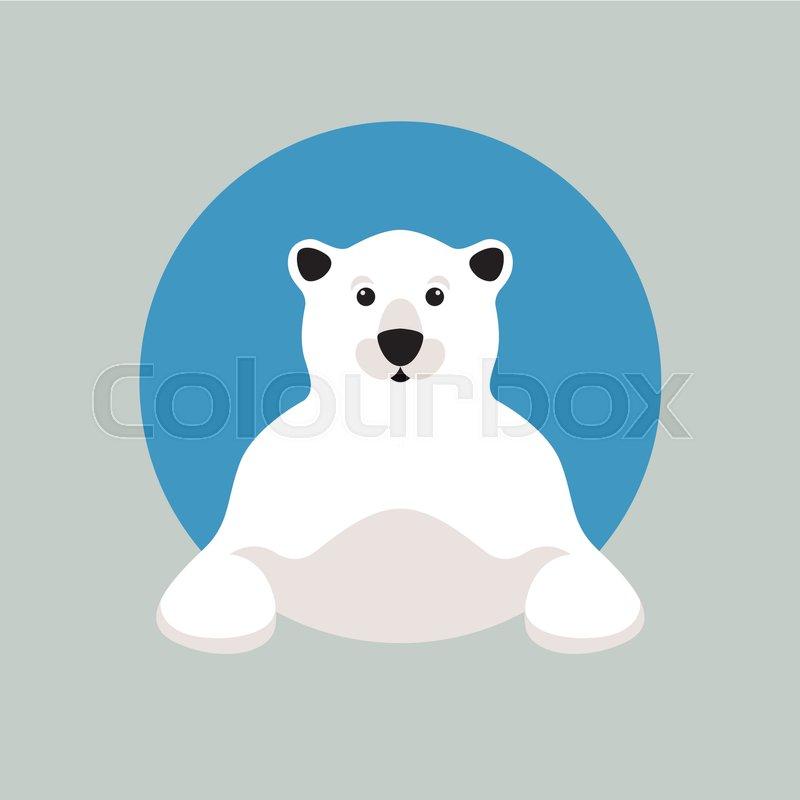 polar bear head vector illustration style flat stock vector
