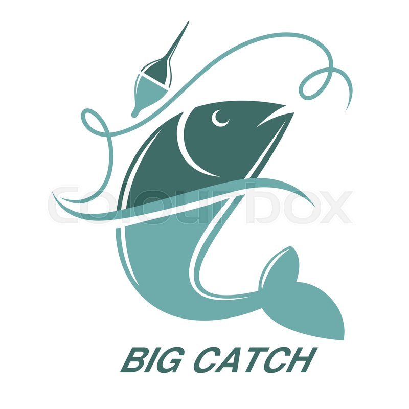 Big Fish Catch Vector Logo Template Fishing Club Or Fisher Market