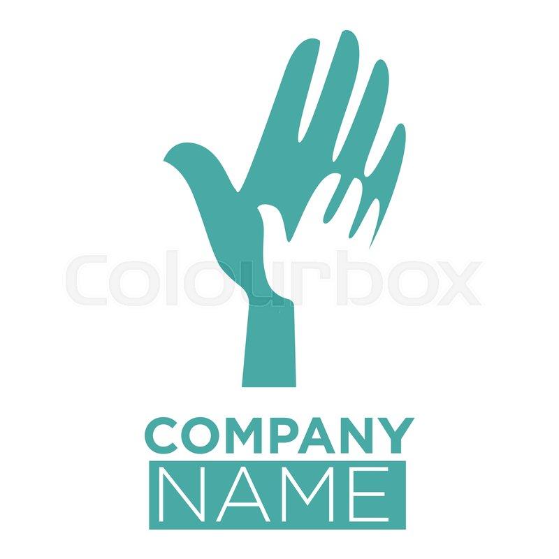 Hand In Hands Vector Logo Template With Symbol Of Dove Bird