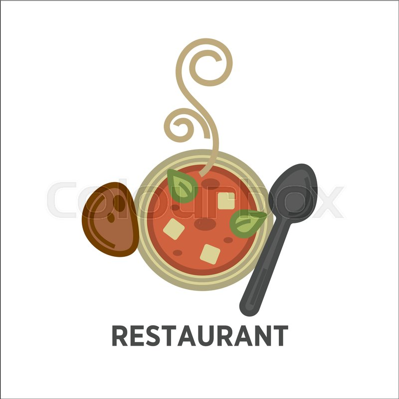 Restaurant logo vector template. Hot soup plate or bowl, bread and ...