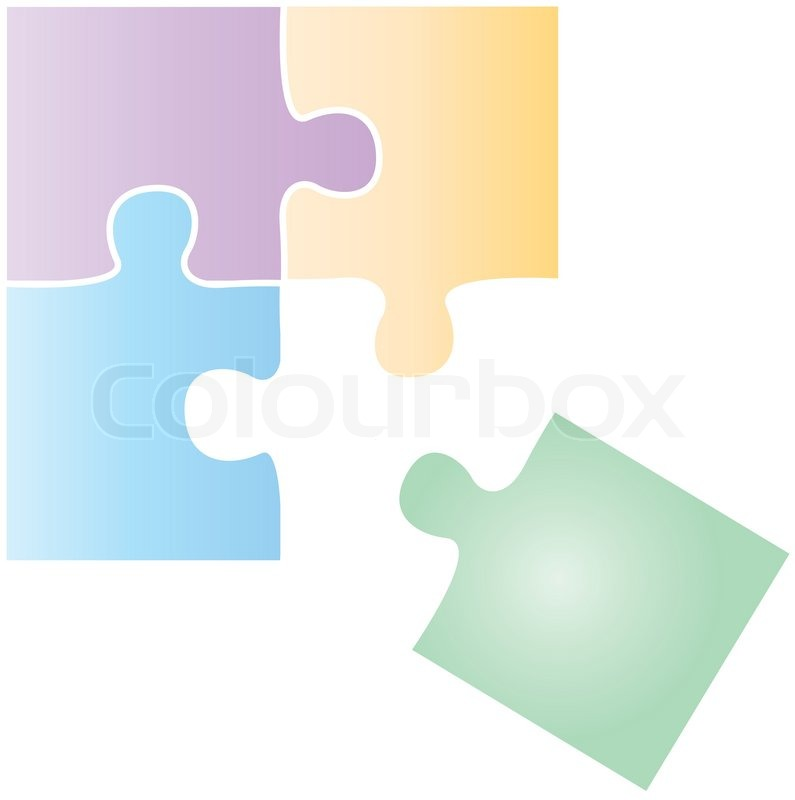 Puzzle Pieces Fitting Together Blue Puzzle Pieces Fitting