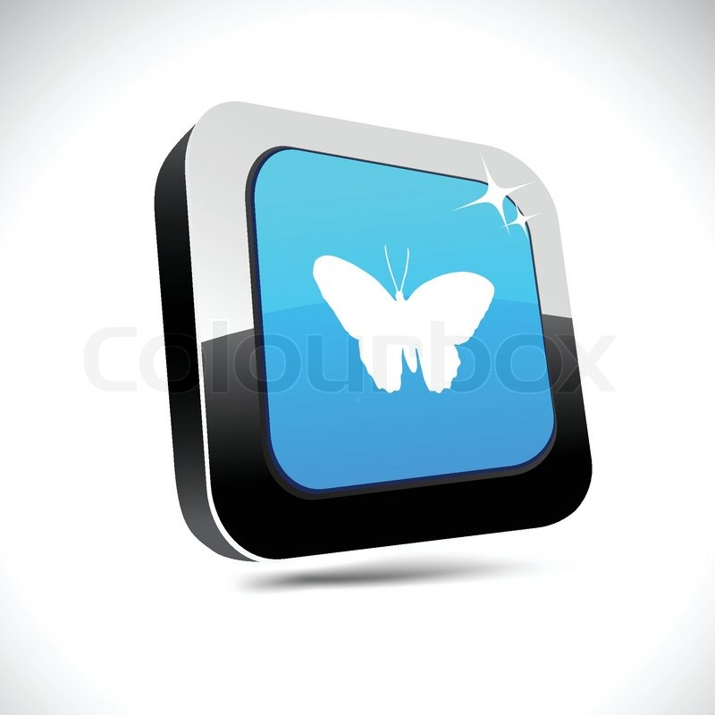 Butterfly 3d square button | Stock Vector | Colourbox